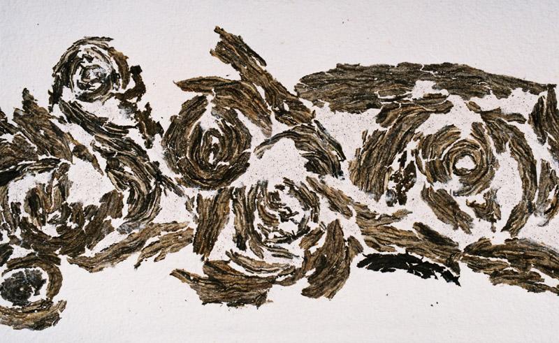 tierisch gut, Ausschnitt, 2011, Pulpe und Wespennester, 160x45 cm, Fries