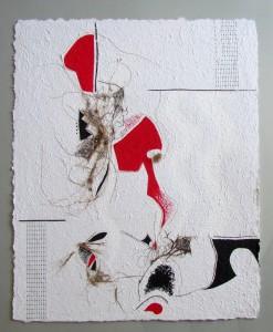 Triptychon: Smoldzinski Las, 2015, 70x56 cm,Recyclingbütten, Strandgut, letraset, Acrylfarbe (Mitte)