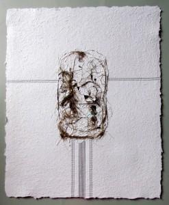 Triptychon: Smoldzinski Las, 2015, 70x56 cm,Recyclingbütten, Strandgut, letraset, Acrylfarbe (rechts)
