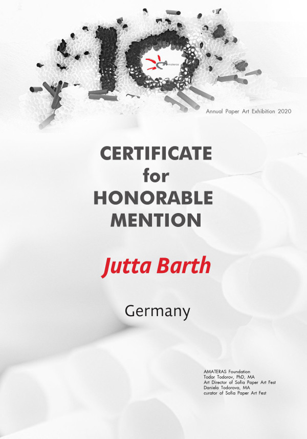 Certificate for Honorable Mention Jutta Barth